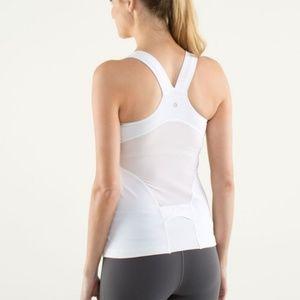 Lululemon Deep V Athletic Tank Top White & Gray